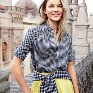 J Crew Gingham Plaid Pleated Bib Popover Blouse